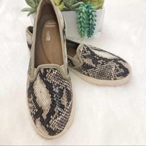 Clarks Azella Theoni snakeskin loafer espadrille